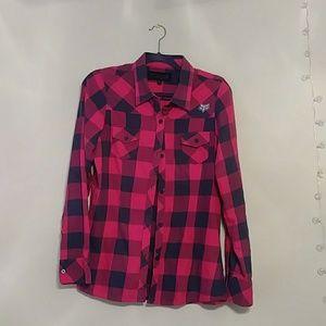 Fox Girls Hot Pink and Dark Gray Checkered Top